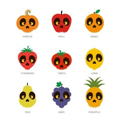 Scary fruit illustration vector
