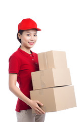 Portrait of delivery woman service happily delivering package to costumer