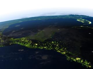 Yucatan at night on planet Earth