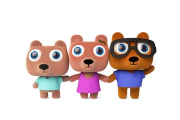 Cute cartoon bear family