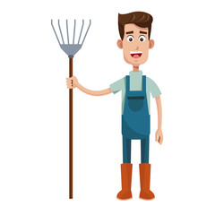 cute farmer coveralls and pitchfork vector illustration