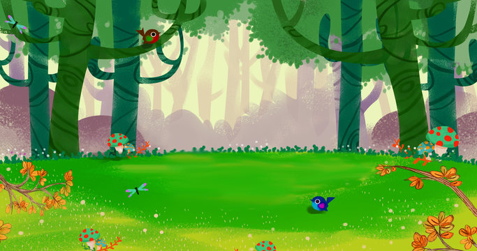 The Fresh Happy Spring Air in the Small Forest. Video Game's Digital CG Artwork, Concept Illustration, Realistic Cartoon Style Background
