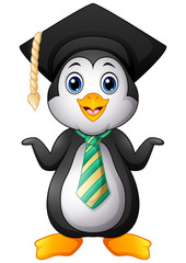 Penguin cartoon with graduation cap and striped tie