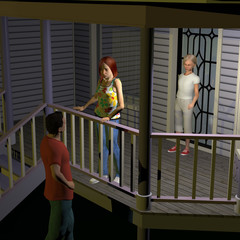 3d computer rendered illustration of two young girls on a porch and a young man below talking to them