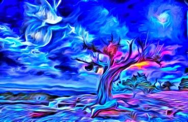 Painterly Desert Tree