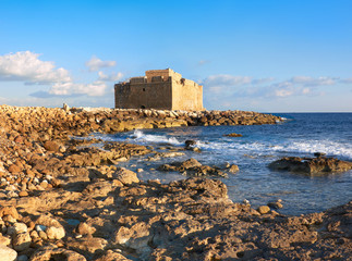 Fototapete - Pafos Harbour Castle in Cyprus, panoramic image