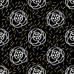seamless hand drawn flower with glitter pattern on black background