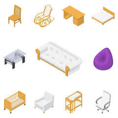 furniture set isolated on white background