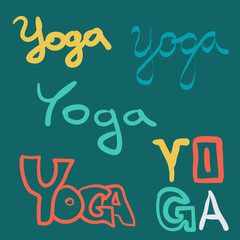 Vector set of yoga sketch style elements. Typography and lettering print template. Graphic design for poster, advertising
