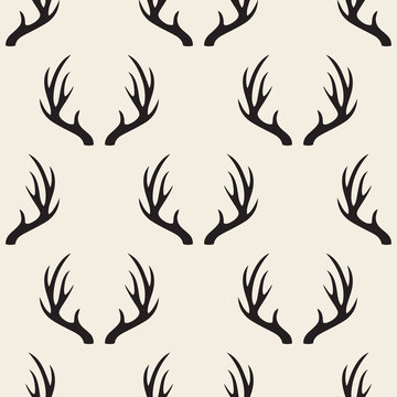 seamless monochrome antler pattern background