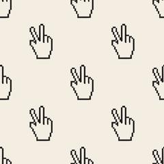 seamless monochrome pixel finger , v sign pattern background
