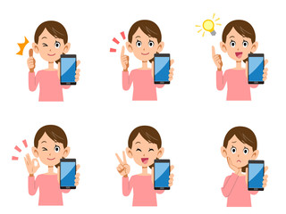 女性 スマートフォン 表情としぐさのセット