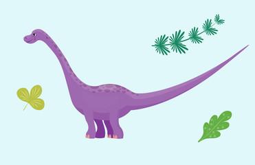 cartoon dinosaur diplodocus vector illustration isolated monster animal dino prehistoric character reptile predator jurassic leaf dragon