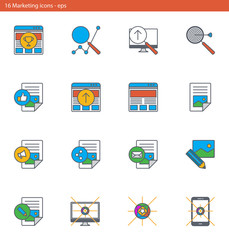 Vector eps icons set - marketing and advertising in outline style
