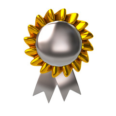 Silver badge with ribbons