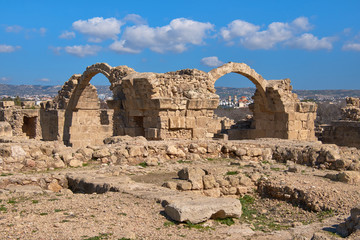 Wall Mural - Roman arches in Pafos archaeological park in Kato