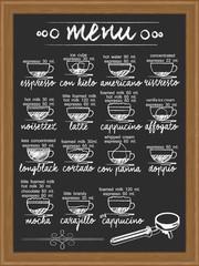 coffee menu and ingredient