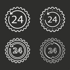 24 hour service icon set.