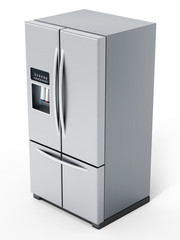 Generic silver refrigerator isolated on white background. 3D illustration