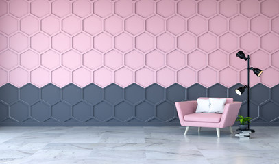 Modern room interior, pink armchair on marble flooring and pink with black  Hexagon Mesh wall  /3d render