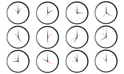 Set of round clocks showing various time isolated on white background. World clock, time zone. Vector illustration