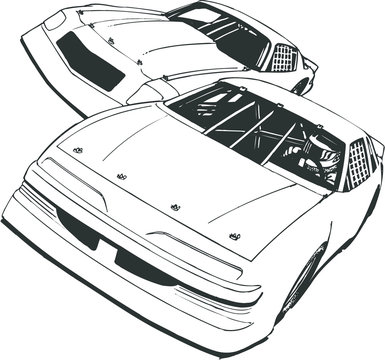 Two Front Facing Stock Race Cars