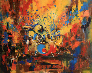 Drummer on motley multicolored background, original acrylic painting on canvas