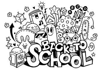 Vector illustration of  Back to School ,Monster Doodle for your design