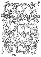 Hand drawing cute doodle cats group,Flat Design Vector illustration. doodle style
