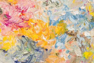 Abstract   oil paint background. Palette knife paint texture. Soft lens effect.