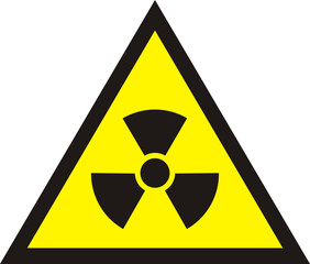 Nuclear Radiation Symbol - Radioactive sign in yellow colour isolated on white background