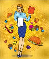 Vector illustration of waitress female, retro pop art comic style