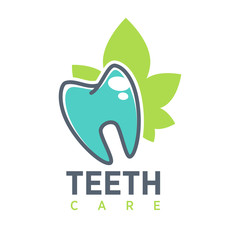 Tooth vector logo template for dentistry or dental clinic and health products. Vector icon of white shining teeth and healthy mouth