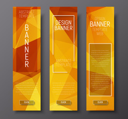 web banners with abstract polygonal background