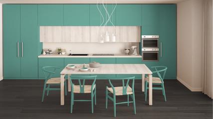 Modern minimal turquoise kitchen with wooden floor, classic interior design