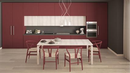 Modern minimal red kitchen with wooden floor, classic interior design