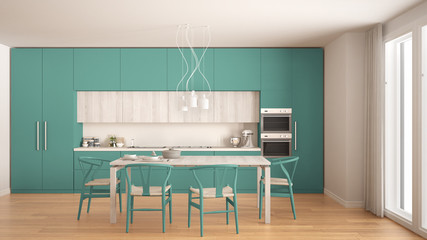 Modern minimal turquoise kitchen with wooden floor, classic interior design