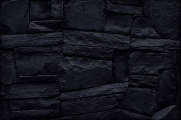 black stone wall for background and design.