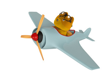 A cartoon dog on a vintage airplane,3D illustration.