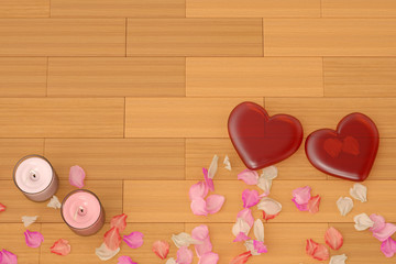 Two red hearts with petals and candles on the floor. 3D illustration.