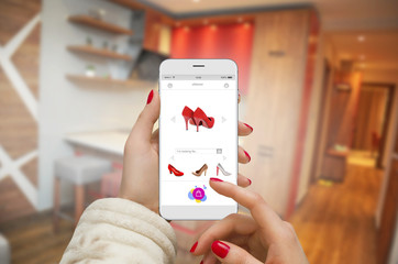 Women in apartment buying shoes online