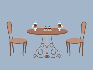 Coffee table and two chairs on a blue background. There are also cups of coffee and cakes in the picture. Vector illustration.