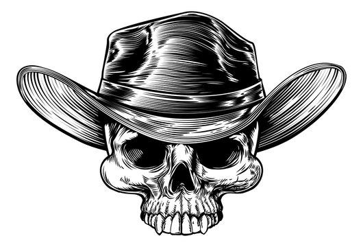 Cowboy Skull Hat Drawing