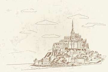 Vector sketch of Mont Saint Michel. Normandy, France.
