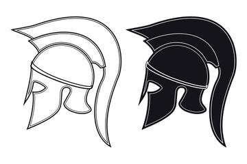 Black and White Vector Illustration of a Side Silhouette on Ancient Greek Warrior Helmet. Spartan Helmet. Roman Helmet