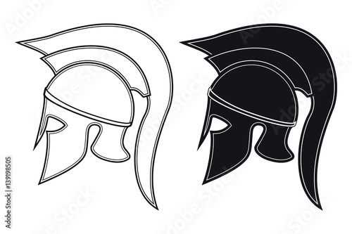 Black and White Vector Illustration of a Side Silhouette on Ancient Greek  Warrior Helmet. Spartan Helmet. Roman Helmet b5d1f6378b3