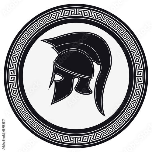 Ancient Greek Helmet With A Crest On The Shield On A White