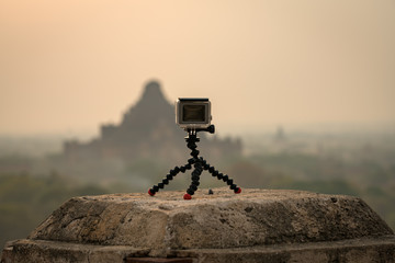 Action camera record timelapse view old bagan pagoda Mandalay,Myanmar