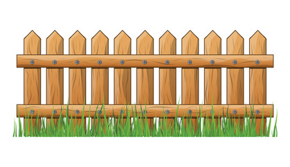 Wooden Fence with grass isolated vector symbol icon design.