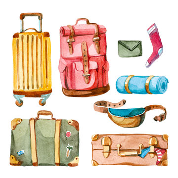 Watercolor illustration. hand drawn set of suitcase, rucksack, purse, bag and valise. travelling baggage